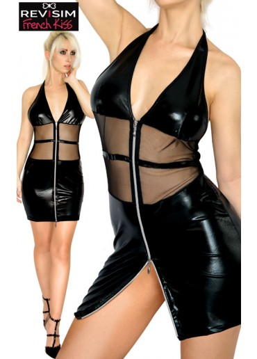 Robe Zip Wetlook & Résille Dos Nu