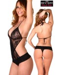Body Trikini Sexy Transparent Dentelle Noire
